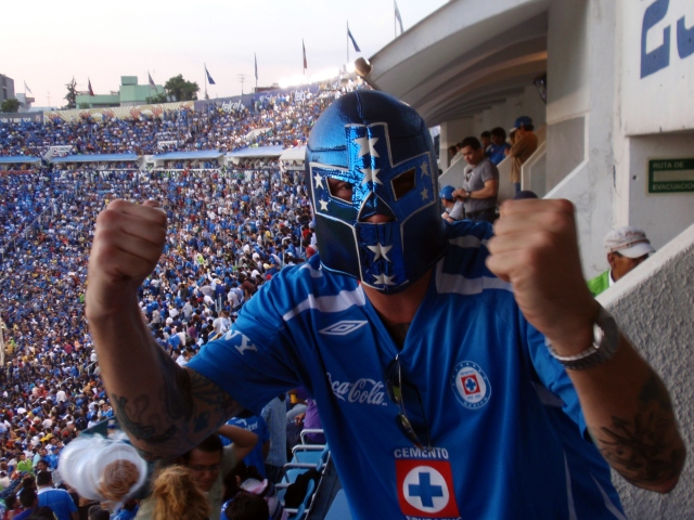 Getting Lucha Libre at Cruz Azul futbol game in Mexico City