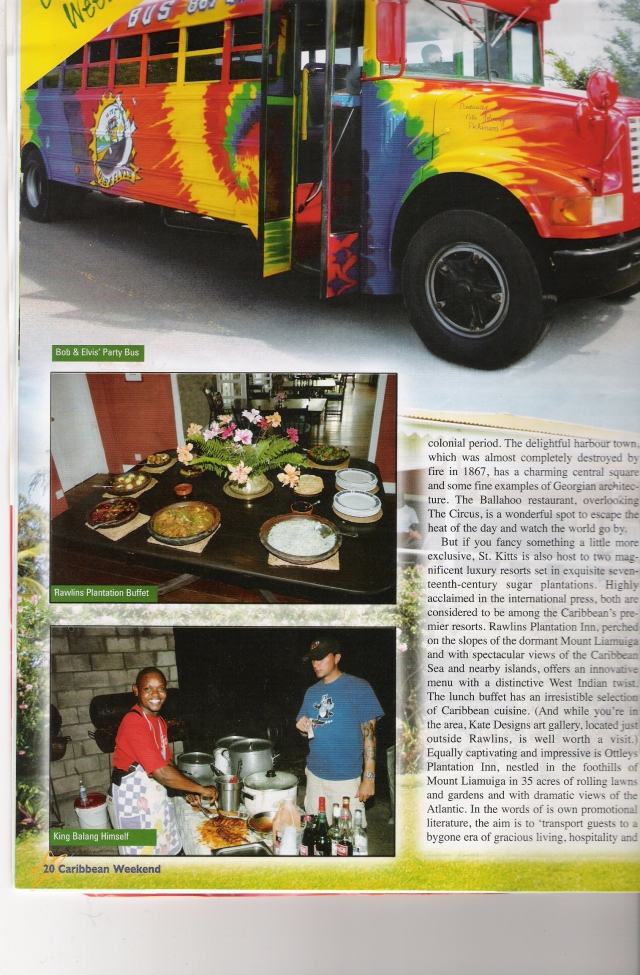 Photo published in an Airline Magazine of me buying street chicken in St. Kitts