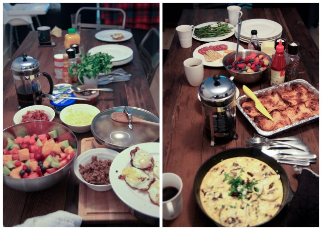 Friday's brunch on the left, Saturday's on the right.