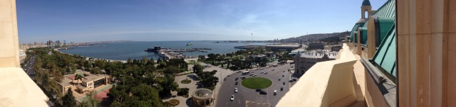 Panoramic of the Caspian Sea, from the Four Seasons Hotel, Baku, Azerbaijan